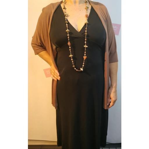 Vestido Largo Escote en Negro y Camel [2]