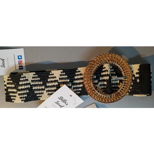 Cinturón Rafia Combinado Hebilla Bambú [1]
