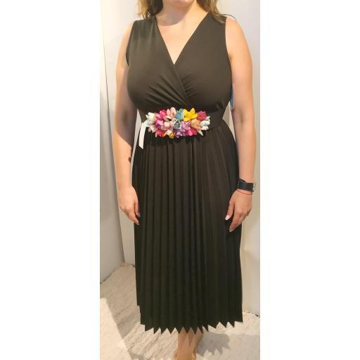 Vestido Falda Plisada Negro