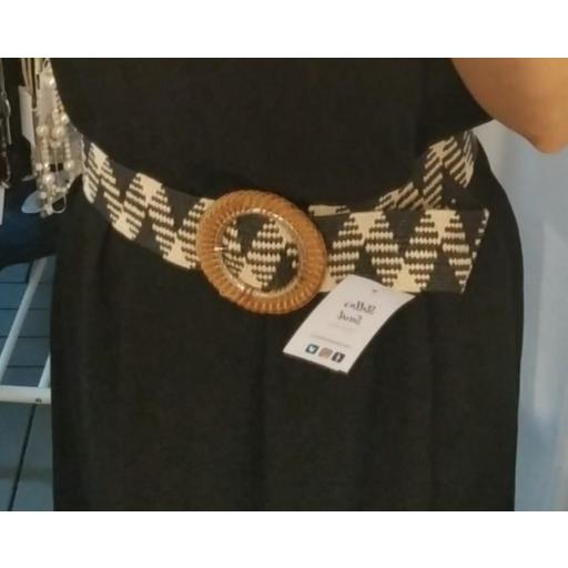 Cinturón Rafia Combinado Hebilla Bambú