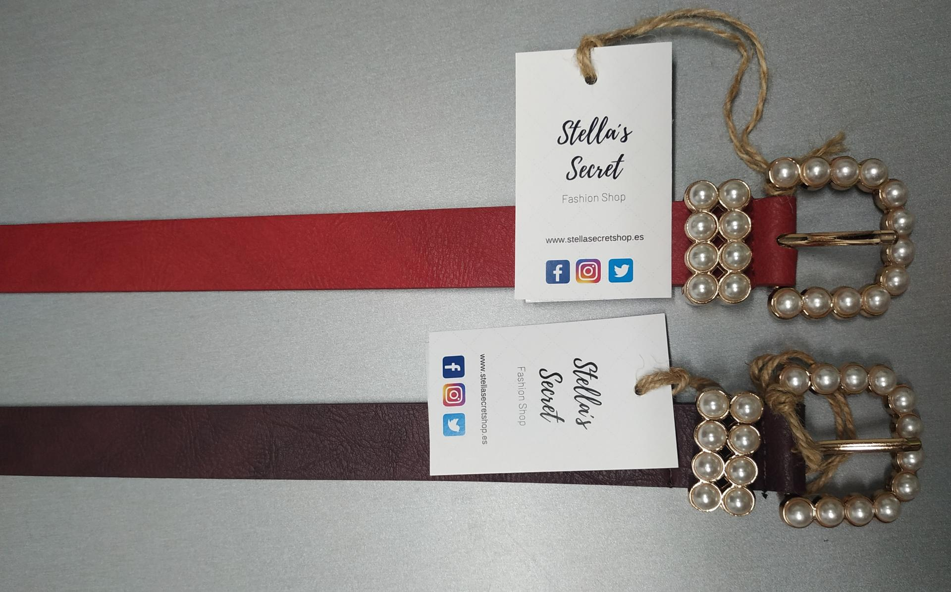 Cinturón Hebilla Perlas Rojo
