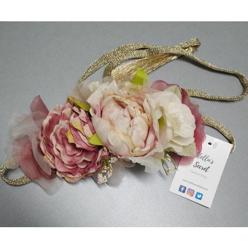 Cinturón Flores Cintura Cordón en Rosa y Ocre [1]