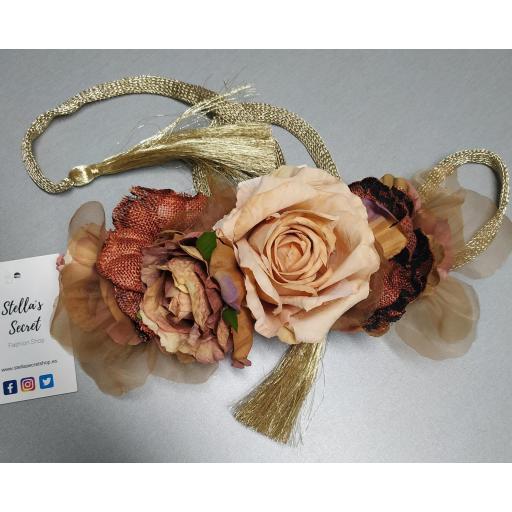 Cinturón Flores Cintura Cordón en Rosa y Ocre