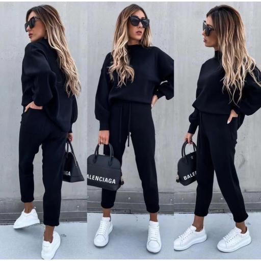 Conjunto Punto Jersey y Pantalón en Negro