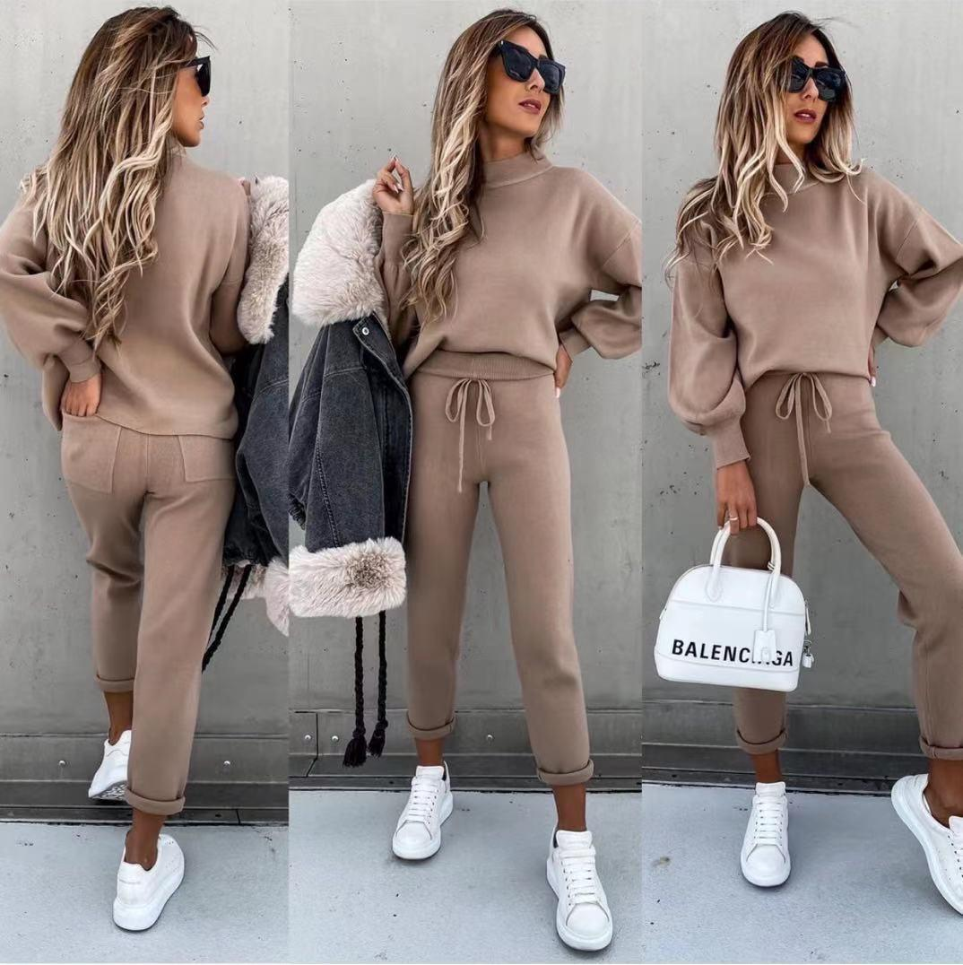 Conjunto Punto Jersey y Pantalón en Camel