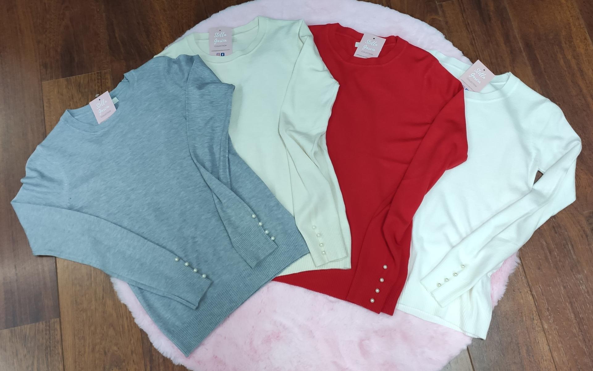 Jersey Basic Perlas en Gris, Beige, Rojo y Blanco