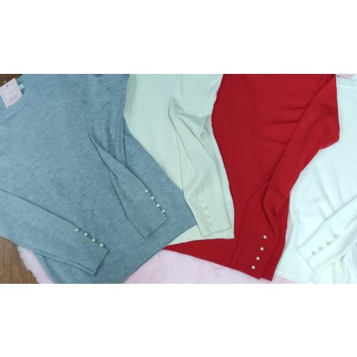 Jersey Basic Perlas en Gris, Beige, Rojo y Blanco [1]