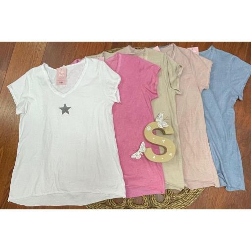 Camiseta Estrella en Beige y Rosa Nude [1]