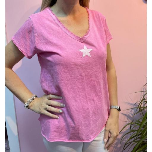Camiseta Estrella en Blanco, Fresa, Beige, Rosa Nude y Celeste