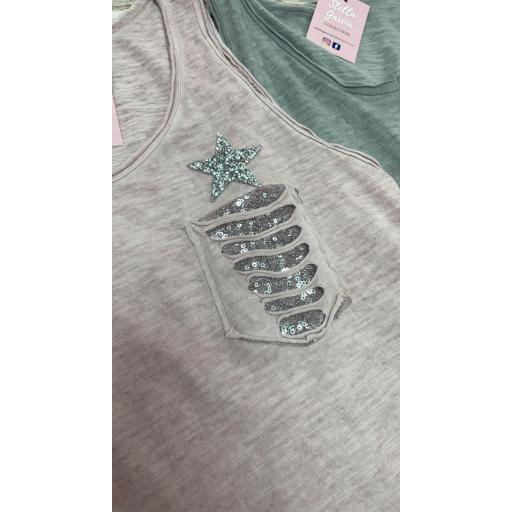 Camiseta Estrella Glitter en Beige [2]