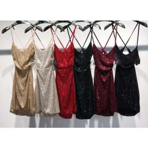 Vestido Strass en Granate, Negro y Plateado [3]