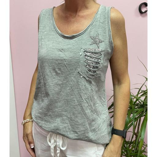Camiseta Estrella Glitter en Beige, Rosa y Gris