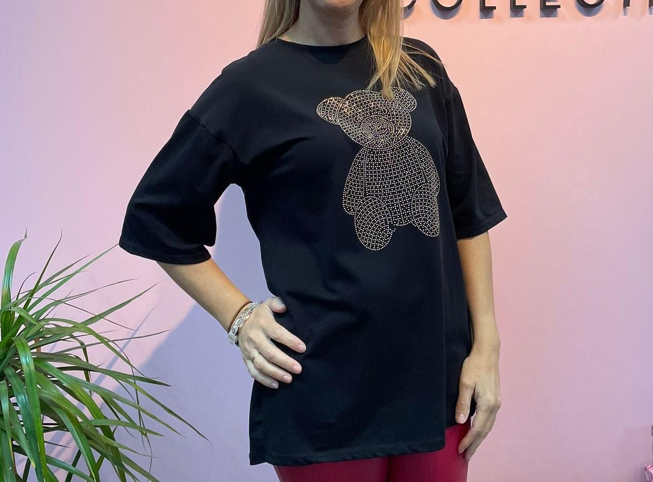 Camiseta Osito Glitter Negra