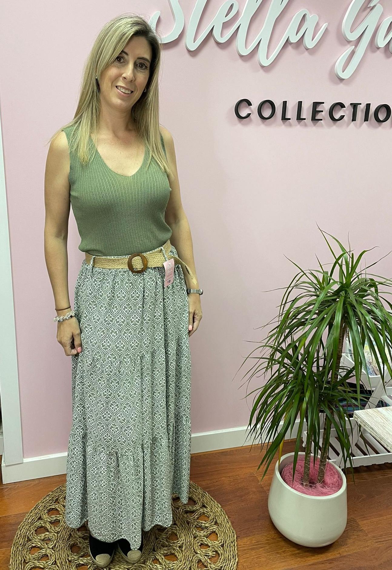 Falda Mireia en Verde y Beige