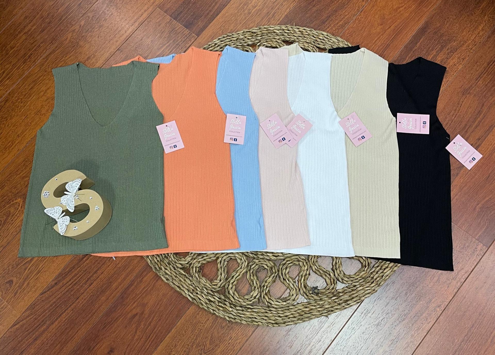 Top Hilo Stella en Verde, Naranja, Celeste, Rosa, Blanco, Beige y Negro