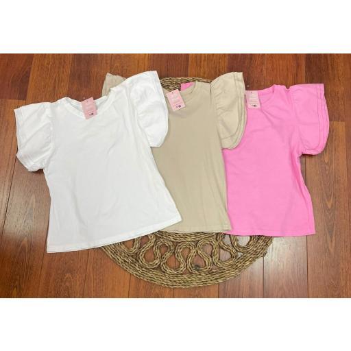 Camiseta Volantes en Blanco, Beige y Rosa [1]