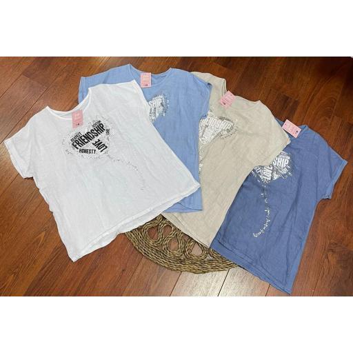 Camiseta Talla Grande Friend en Blanco, Celeste, Beige y Azul [1]