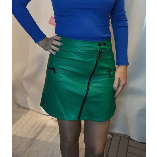Falda Cremalleras Verde Talla M [0]
