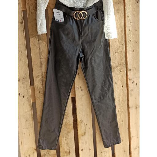 Pantalón Polipiel Negro con Cinturón Talla M [2]