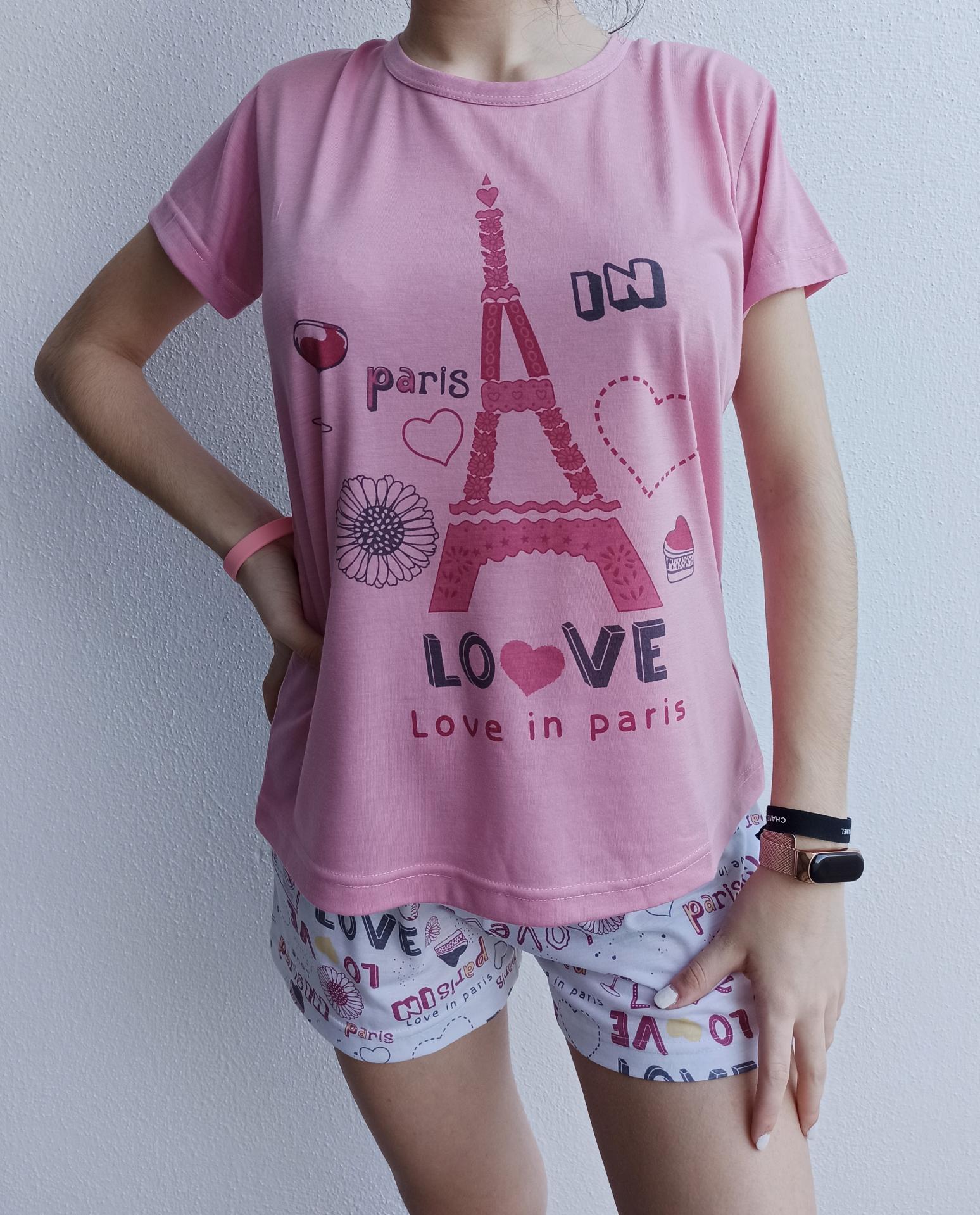 Pijama París en Azul, Gris y Rosa