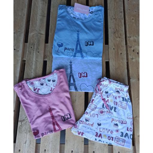 Pijama París en Azul, Gris y Rosa [2]