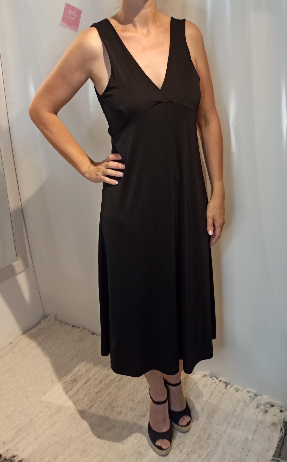 Vestido Largo Escote en Negro y Camel
