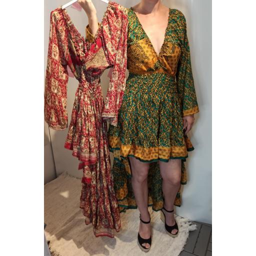 Vestido Boho Seda en Granate [1]