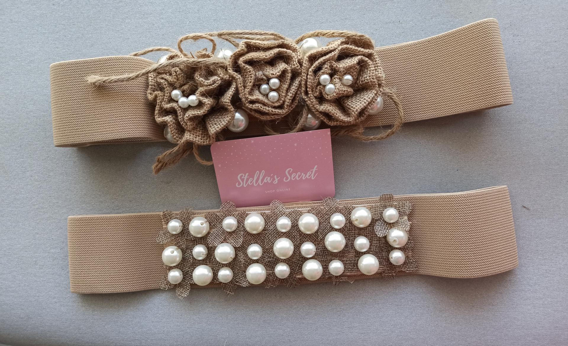 Cinturón Elástico con Perlas