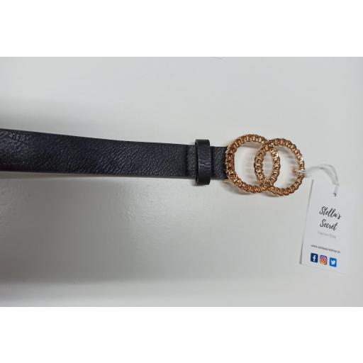 Cinturon Hebilla Dorada Negro