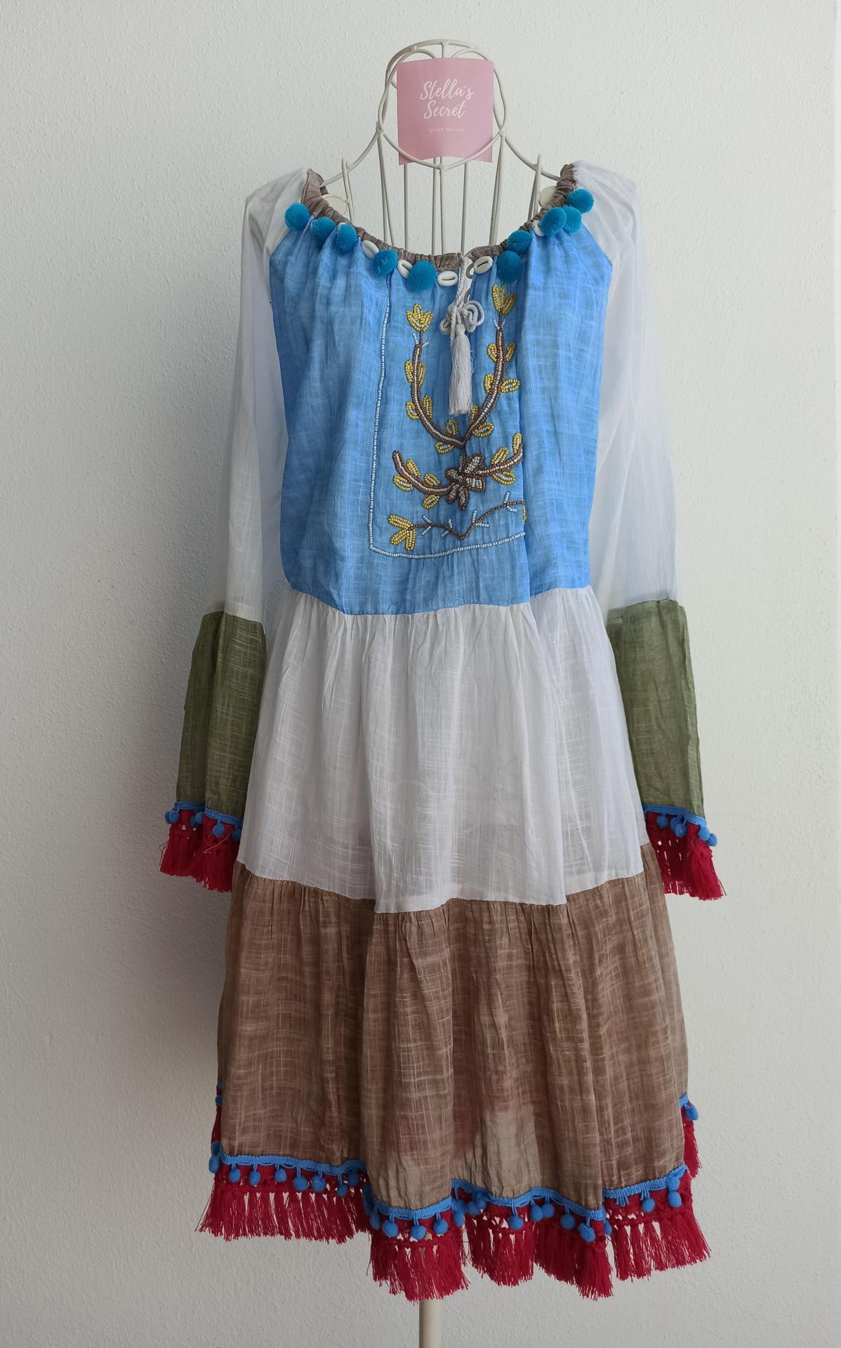 Vestido Boho Manga Larga en Azul y Beige