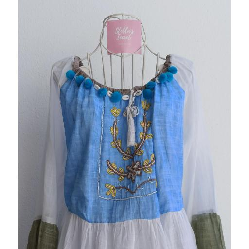 Vestido Boho Manga Larga en Azul y Beige [1]