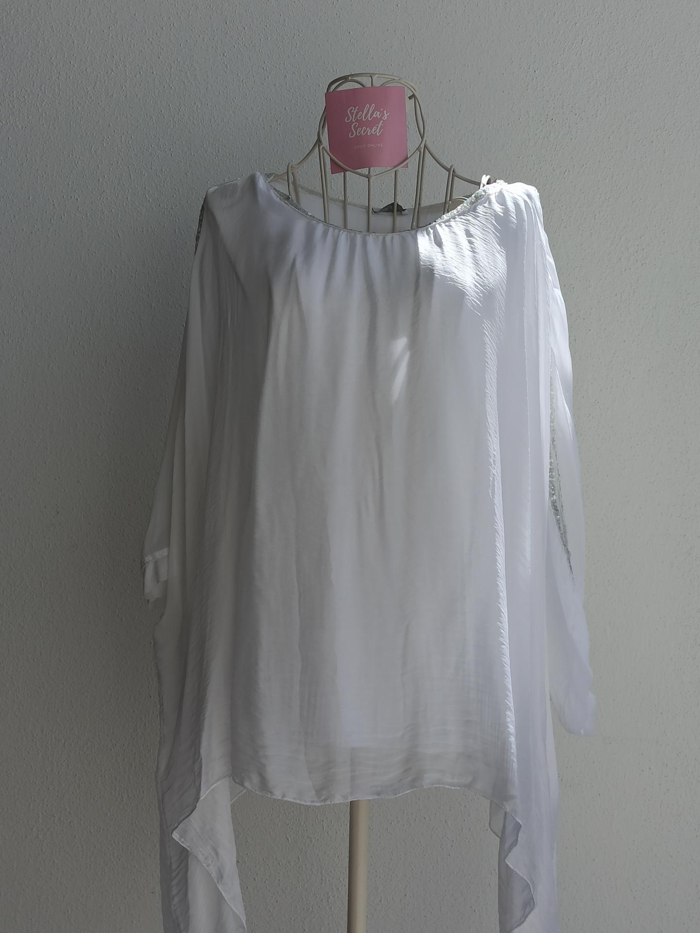 Blusa Seda Pedrería en Blanco