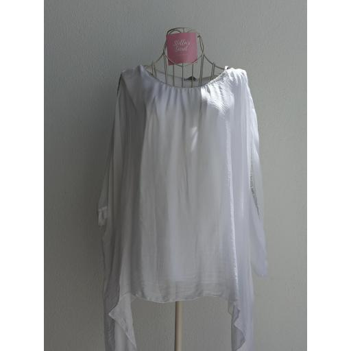 Blusa Seda Pedrería en Blanco [0]