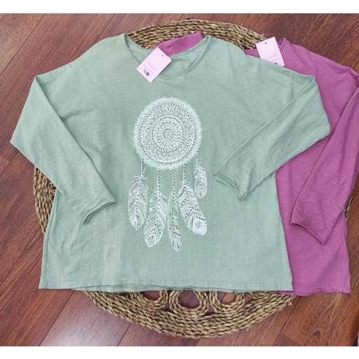 Camiseta Atrapasueños en Frambuesa, Verde y Rosa [2]