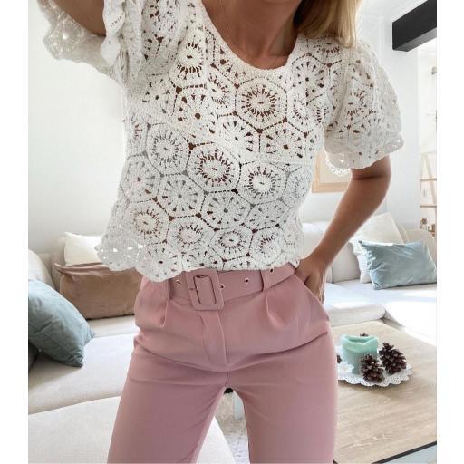 Blusa Crochet Blanca [0]