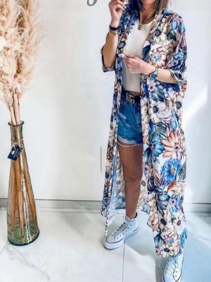 Kimono Flores en Beige