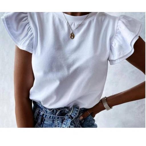 Camiseta Volantes en Blanco, Beige y Rosa