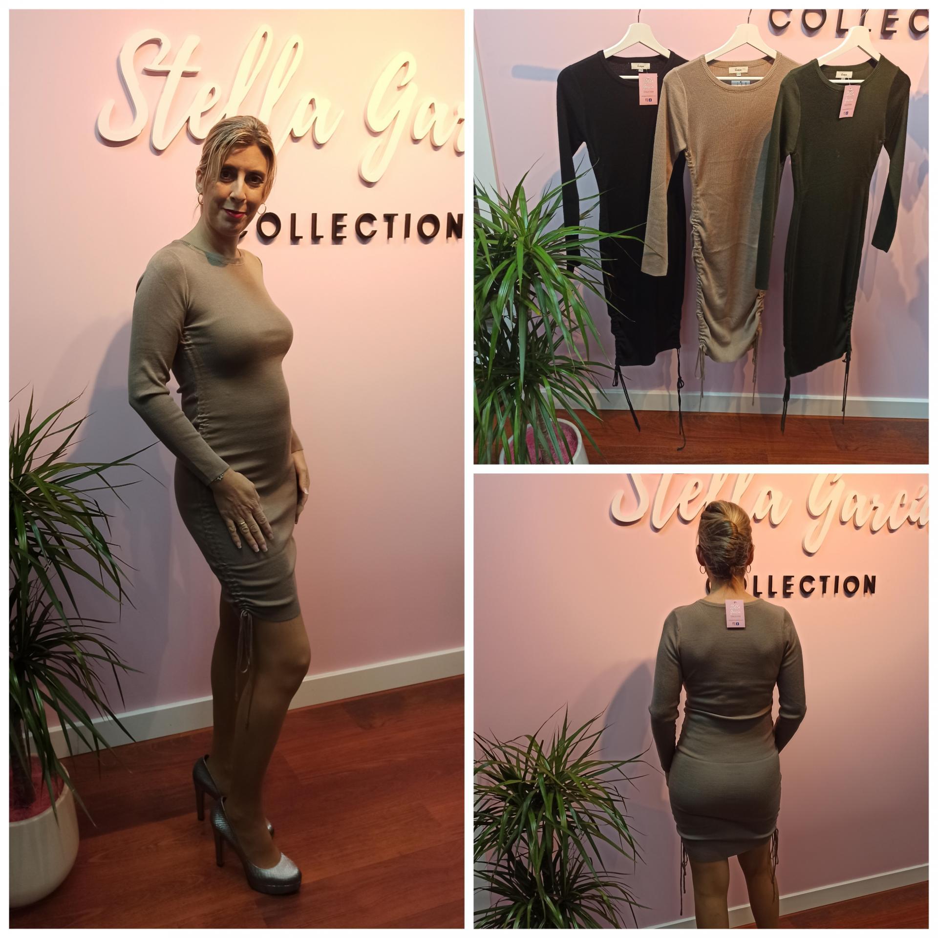 Vestido Altea en Negro, Beige y Verde