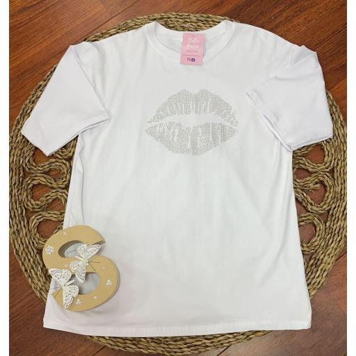 Camiseta Lips en Blanco