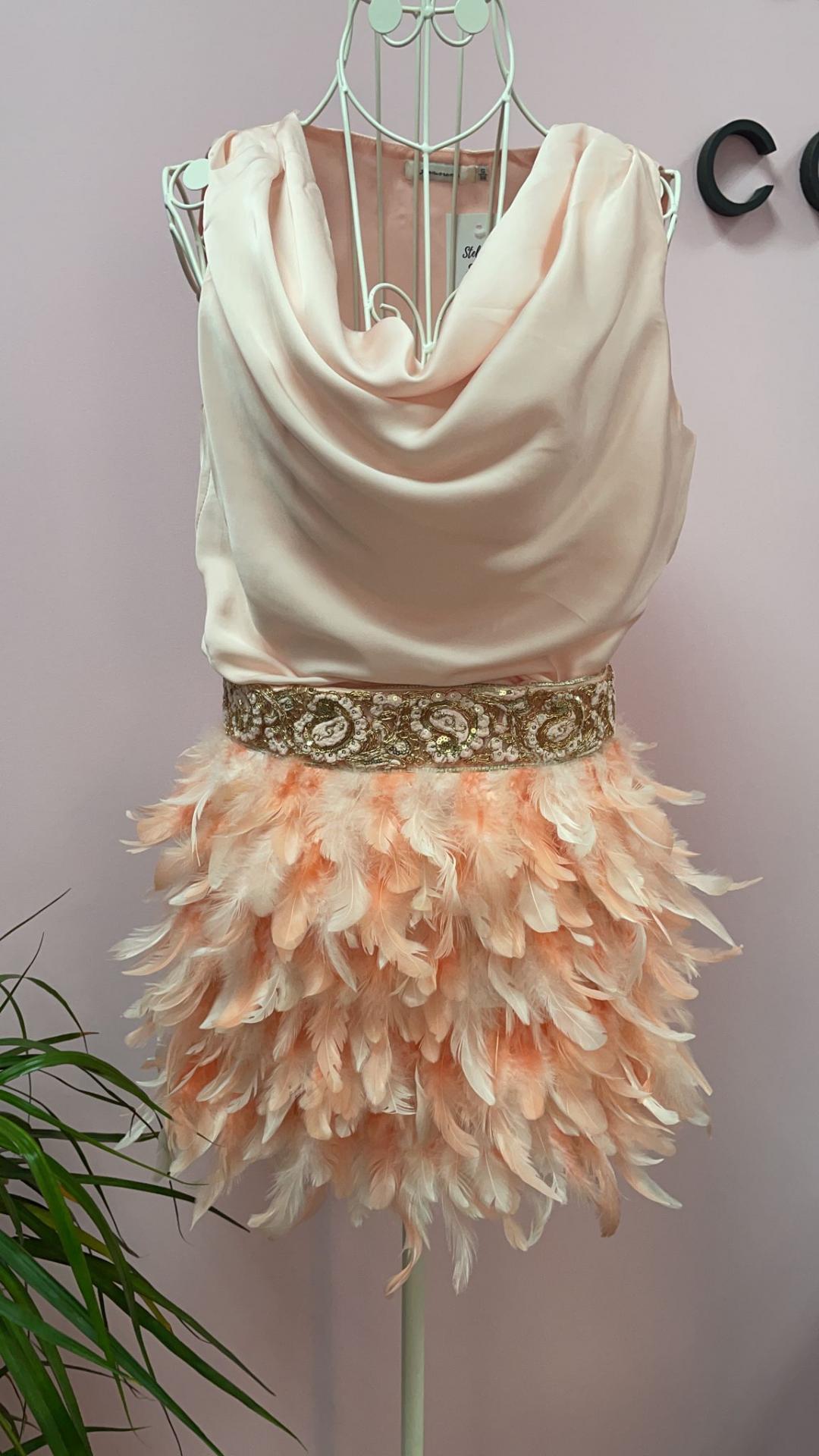 Vestido combinado Plumas en Rosa Talla S