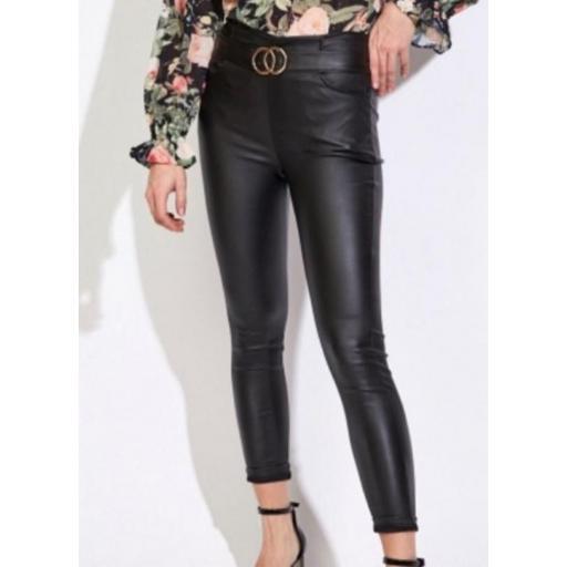 Pantalón Polipiel Negro con Cinturón Talla M [0]