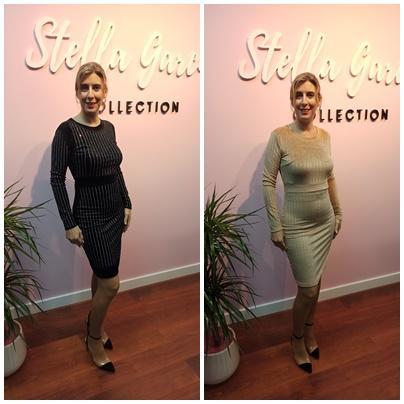 Vestido Gala en Negro y Beige en S/M y M/L