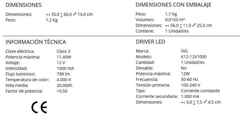 Especificaciones lampara de aluminio metal cromado