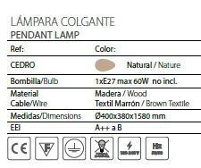 Lámpara de techo de cedro