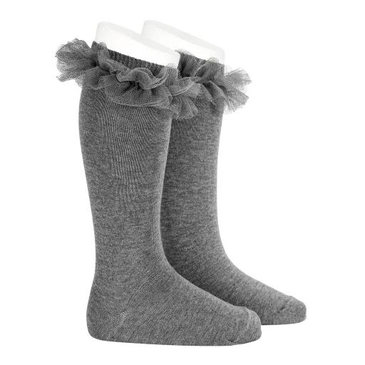 Calcetines altos punto liso con detalle fruncido de Tul Cóndor