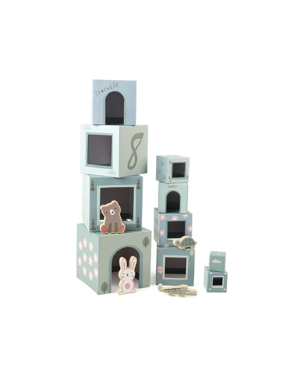 Stacking Cubes With Wooden Animals
