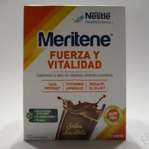 MERITENE FUERZA Y VITALIDAD SABOR CHOCOLATE 15 SOBRES