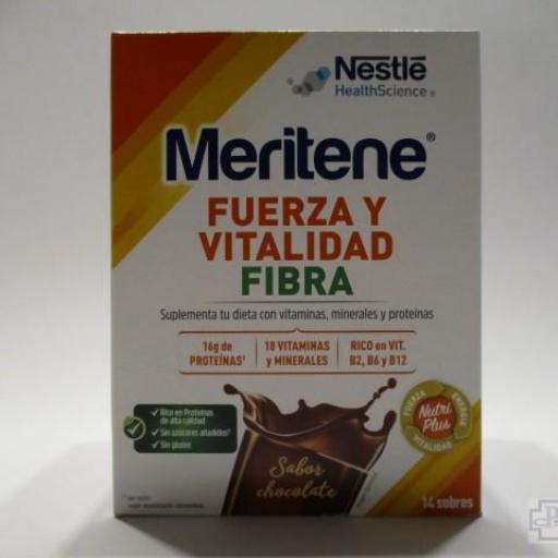 MERITENE FUERZA Y VITALIDAD FIBRA SABOR CHOCHOLATE 15 SOBRES