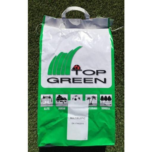 Semillas césped miltirustic top green saco 10kg.