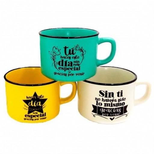 """Taza """"gracias por venir"""" +café artesano + terrón de azúcar moreno + cuchara de madera  [1]"""